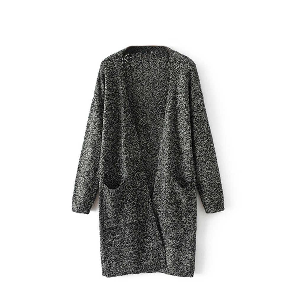 MoneRffi נשים של ארוך שרוול חזית פתוחה שמנמן חם אפודות 2019 חדש גבירותיי מקרית כיס סוודר מעיל