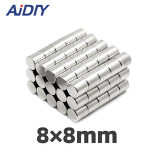 AIDIY 5/20/100 pcs 8x8mm permanent magnet small round super strong powerful rare earth magnets neodymium 8*8mm