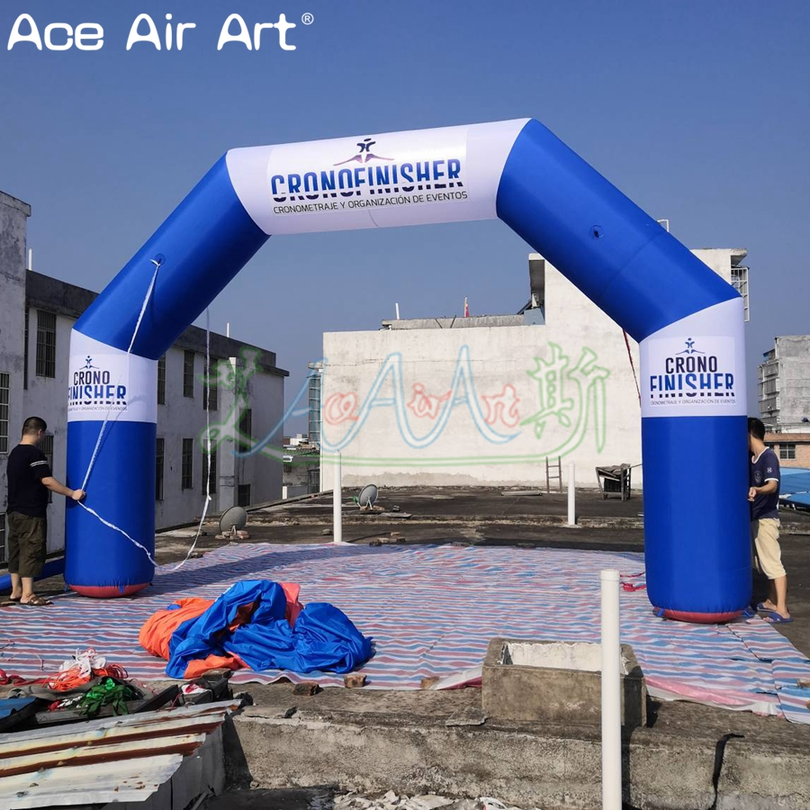 Cheapest angle arch balloon,<font><b>inflatable</b></font> <font><b>billboard</b></font> archway in blue and white with logo/event on discount image