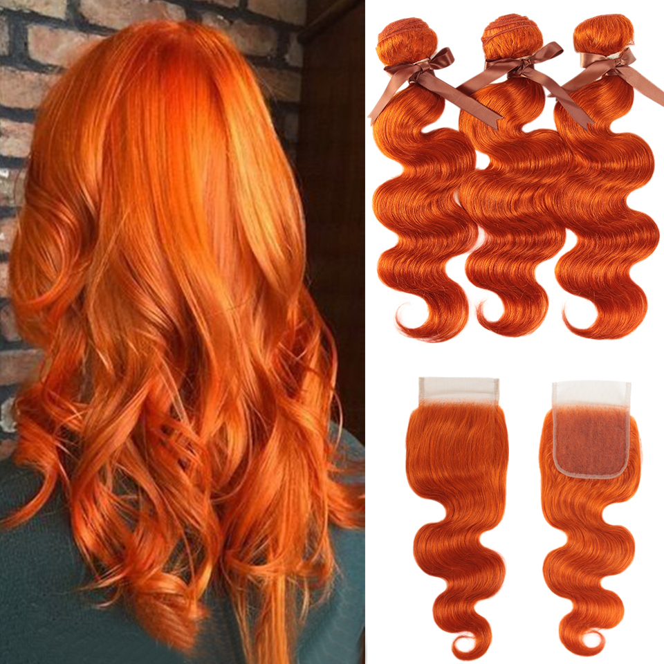 Black Pearl Orange Bundles With Closure Malaysian Body Wave Remy Human Hair Weave Orange Bundles With Closure