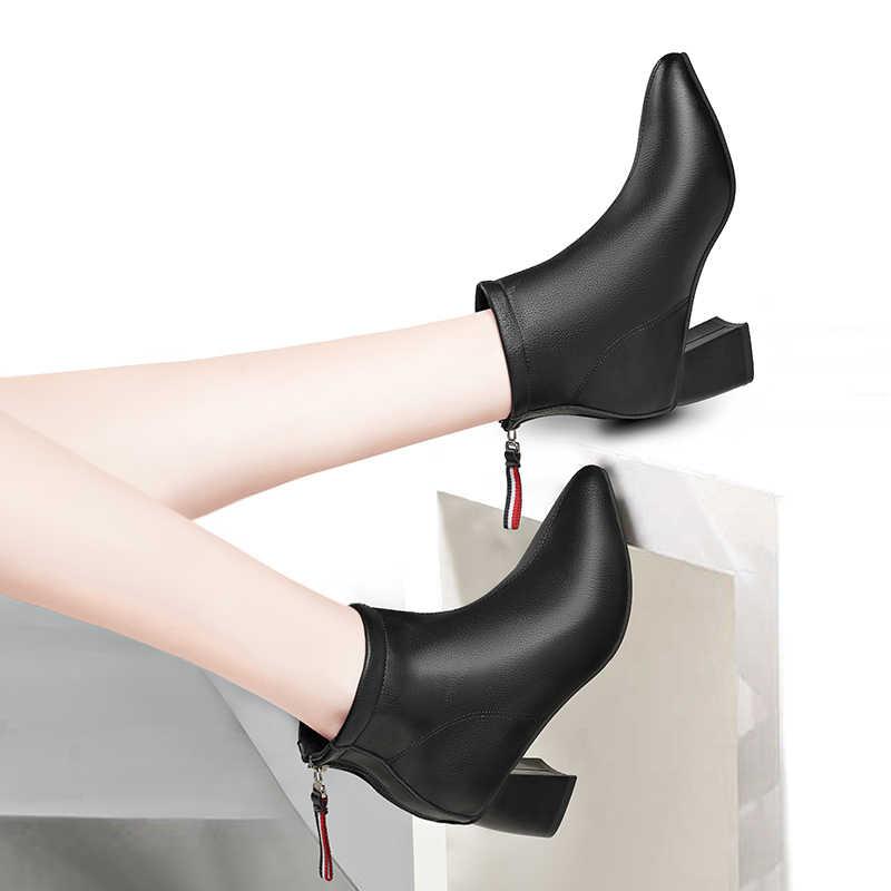 Kadın deri ayakkabı bayanlar toka platformu yüksek topuk ayakkabı yarım çizmeler kadınlar için moda Sneakers zapatos mujer 2019