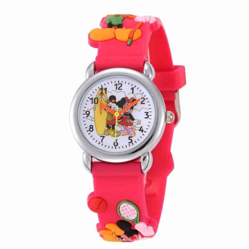 Детские часы с Микки Маусом, милые кварцевые часы для девочек с резиновым рисунком, повседневные студенческие наручные часы для мальчиков
