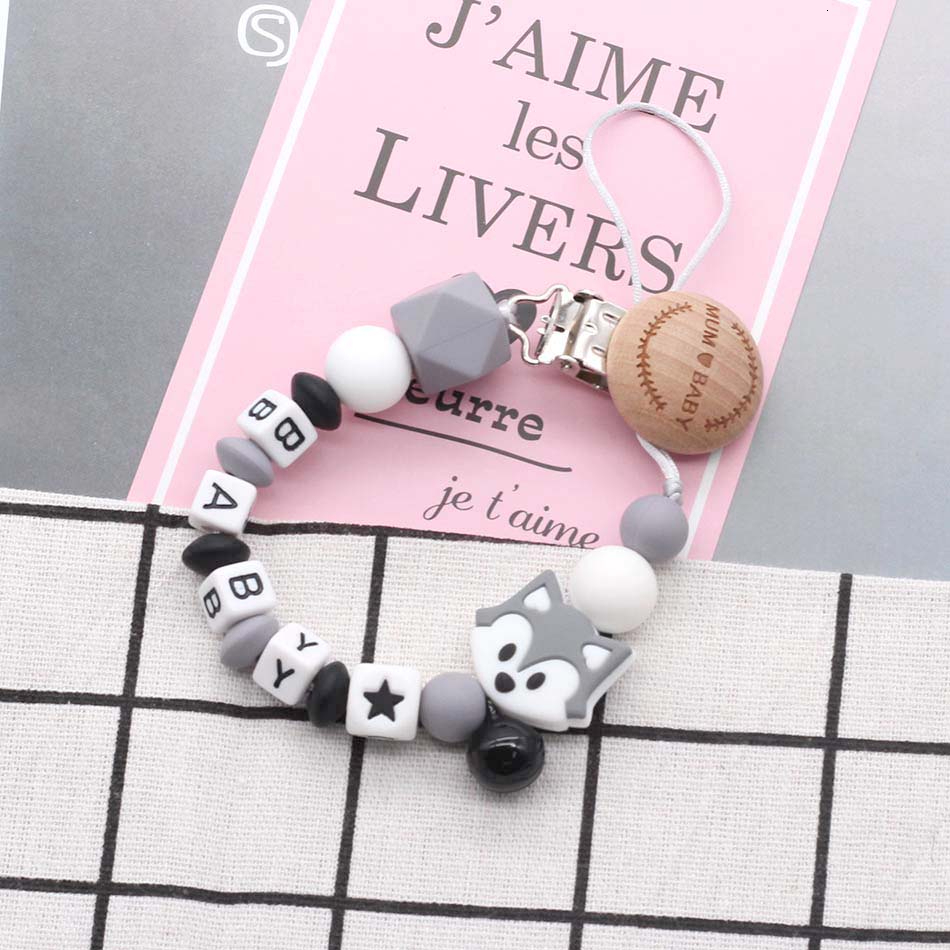 Baby Personalized Name Pacifier Chain Clips Safety Silicone Beads Dummy Clip Teether Teething Boy And Girl Toys Gift Russian ABS