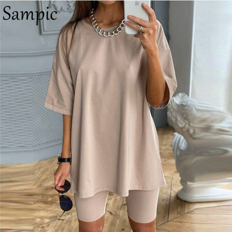 Sampic Fashion White Khaki Sexy Women Summer O Neck Short Sleeve Shirt Tops And Bodycon Shorts Bottom Suit Two Piece Sets Outfit(China)