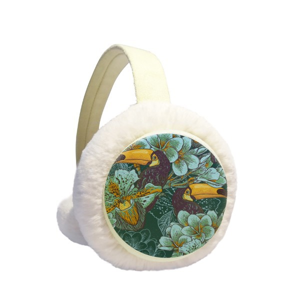 Orchid Bird Square Continuous Pattern Animal Winter Earmuffs Ear Warmers Faux Fur Foldable Plush Outdoor Gift
