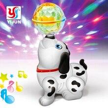 Горячая Электрический робот собака игрушки может лаять ходьба животные вперед игрушка музыка 3D светильник для детей Подарки