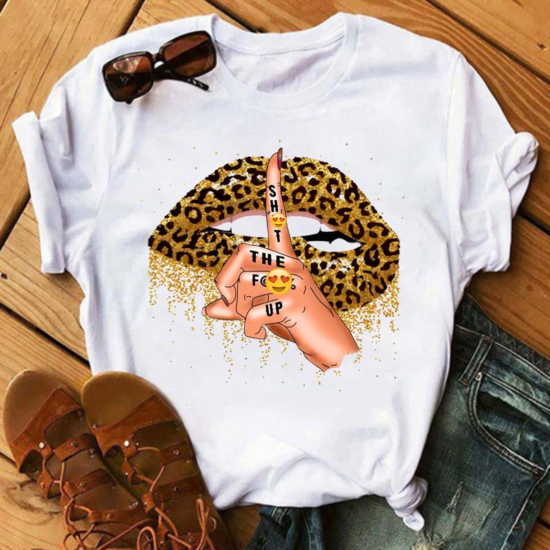 Женская футболка с принтом губ, Повседневная футболка с коротким рукавом и графическим принтом в стиле Харадзюку, 2021