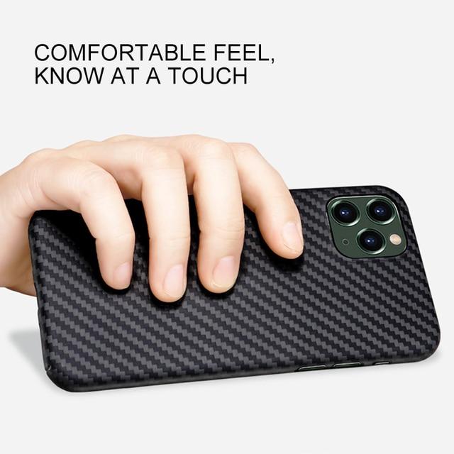 Real Pure Carbon Fiber Phone Case for Iphone 12mini 12 Promax Anti-Fall Hard Business Cover Aramid fiber case iphone12Case Shell 2