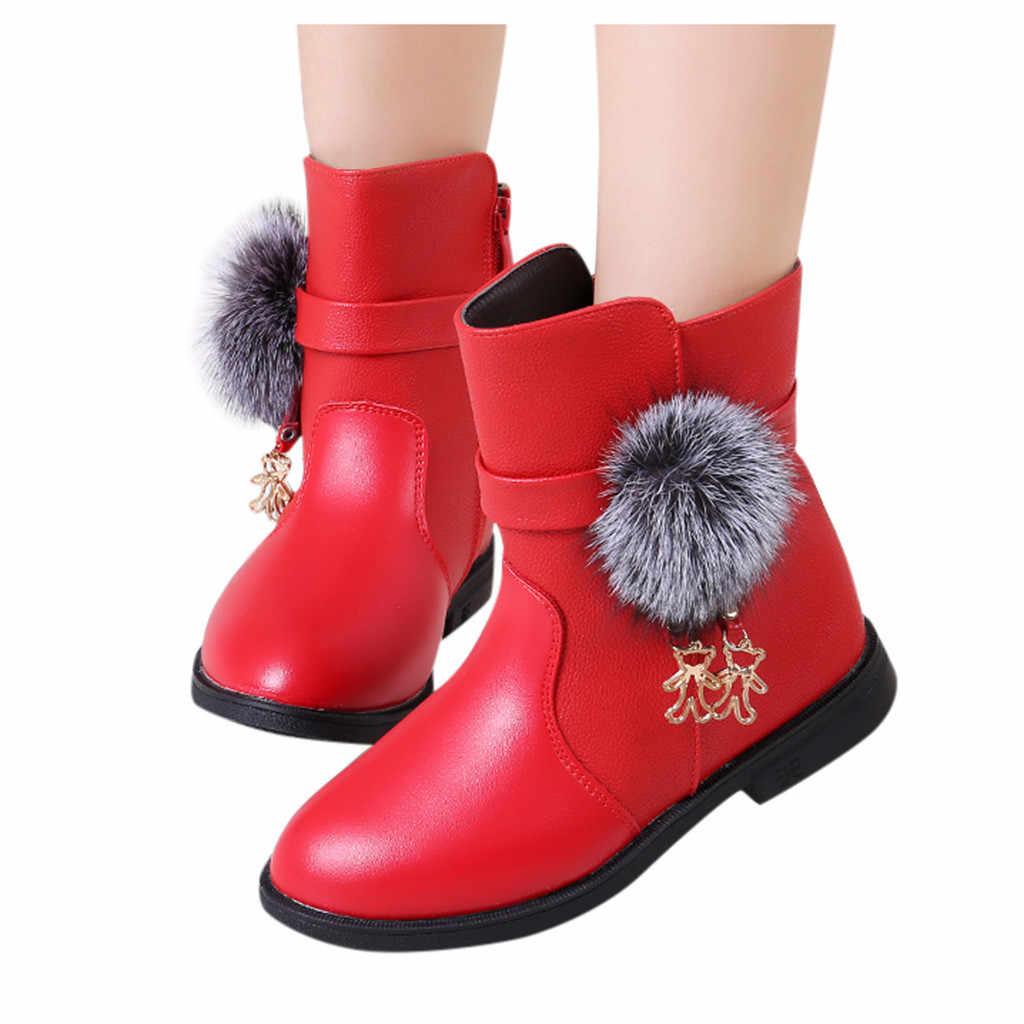 2019 Kore versiyonu Çocuk Kız Prenses Ayakkabı PU Deri Su Geçirmez Martin Çizmeler Yürüyor Çocuk Sıcak Kış Çocuk Kar Botları