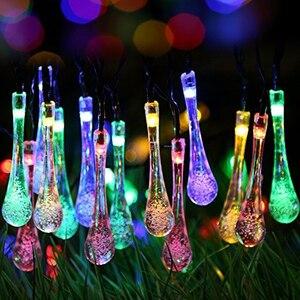 Image 4 - Rantion 30/100 Led Solar String Lights Waterdichte Raindrop String Fairy Lights Voor Patio Garden Party Gazon Vakantie Decoraties
