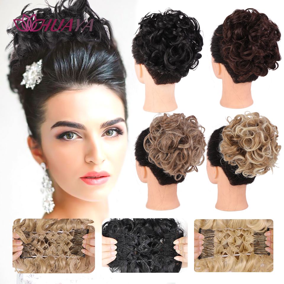 HUAYA Short Elastic Scrunchie Messy Bun Chignon Two Plastic Comb Wave Curly Synthetic Hairpieces Clip in Hair Extensions