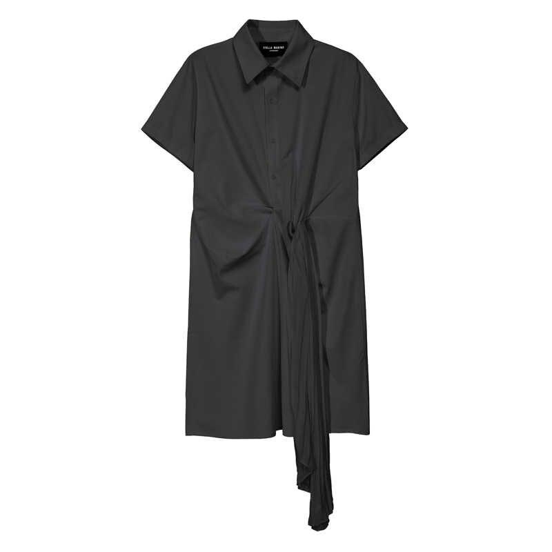 새로운 2020 솔리드 화이트 블랙 여자 여름 미디 셔츠 드레스 Pleated 테이프 사무실 레이디 우아한 드레스 스타일 도매 가운 Femme 5913