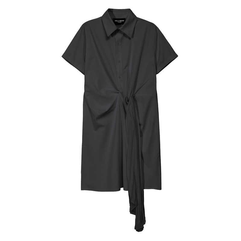 Neue 2020 Solide Weiß Schwarz Frau Sommer Midi Hemd Kleid Plissee Band Büro Dame Elegante Kleid Stil Großhandel Robe Femme 5913