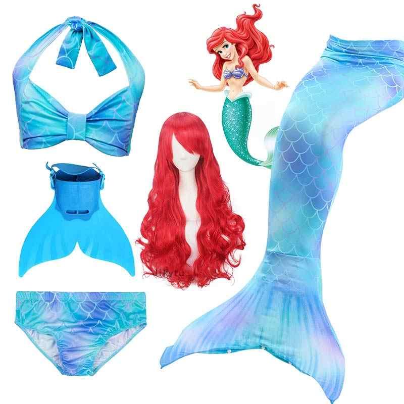 Gorące dzieci syrenka ogon z Monofin kostium dziewczyny strój kąpielowy dla dzieci Ariel ogon syrenki do pływania do pływania zeemeerminstaart