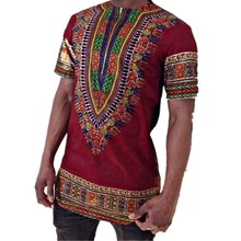 Long-style Mens Wear African style National Printed T-shirt with Round Neck and Short Sleeve