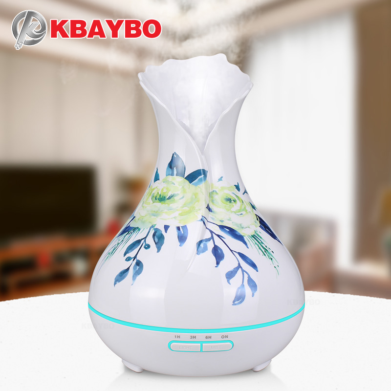 KBAYBO Ultrasonic Essential Oil Diffuser 400ml Air Humidifier Strong Mist Maker Printing Flower White Aromatherapy Humidifier