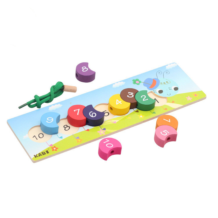 Small Wholesale Toy Wooden Colorful String Lanyard Caterpillar With Numbers Find A Infants Garden Teaching Aids