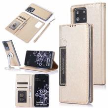 Verborgen Rotatie Kaarten Wallet Case Voor Samsung Note 10 Plus 10 + 8 9 S8 S9 S10 Plus S7 edge Flip Leather Telefoon Case Cover