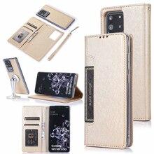 Versteckte Rotation Karten Halter Brieftasche Fall Für Samsung Hinweis 10 Plus 10 + 8 9 S8 S9 S10 Plus S7 rand Flip Leder Telefon Fall Abdeckung