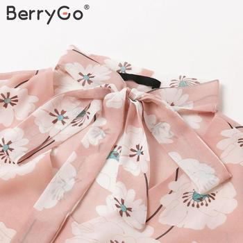 BerryGo Vintage floral print boho dress women Casual long sleeve spring chic party dress High waist work wear office lady dress 10