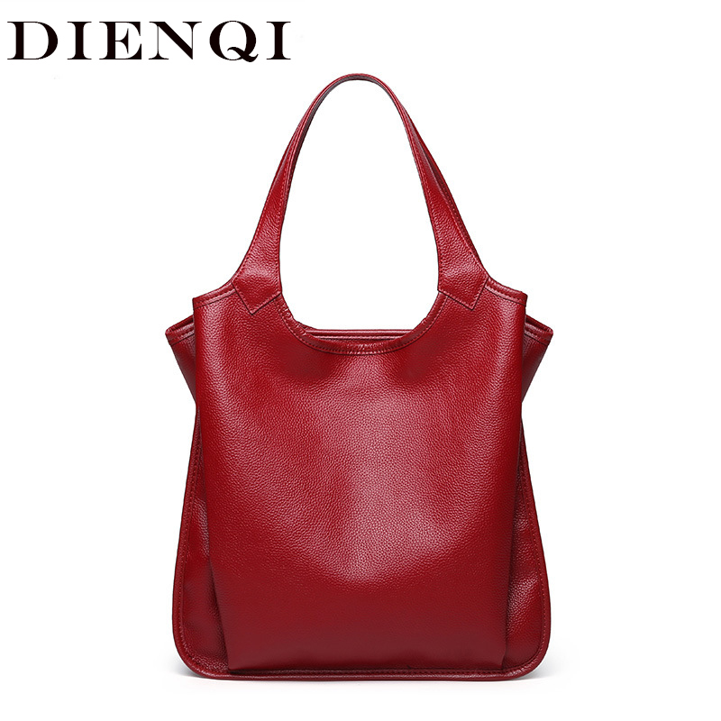 DIENQI cow genuine leather bag ladies winter women's leather handbags big female shoulder bag red hand bags for women 2019
