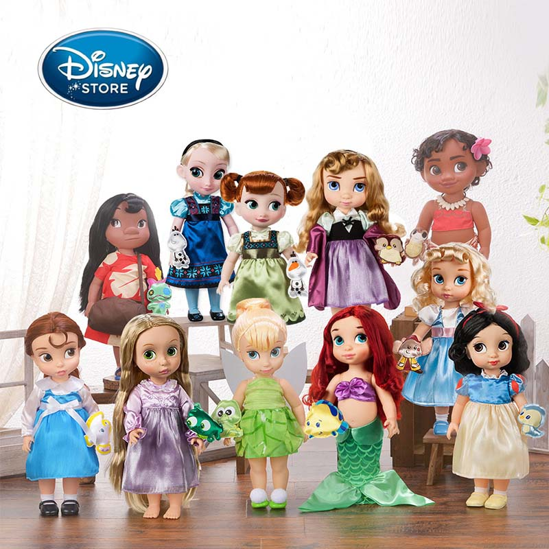 Disney Princess 40CM Salon Doll Rapunzel Anime Fashion Doll Girl Pretend Play Toy Action Figure For Children Christmas Best Gift