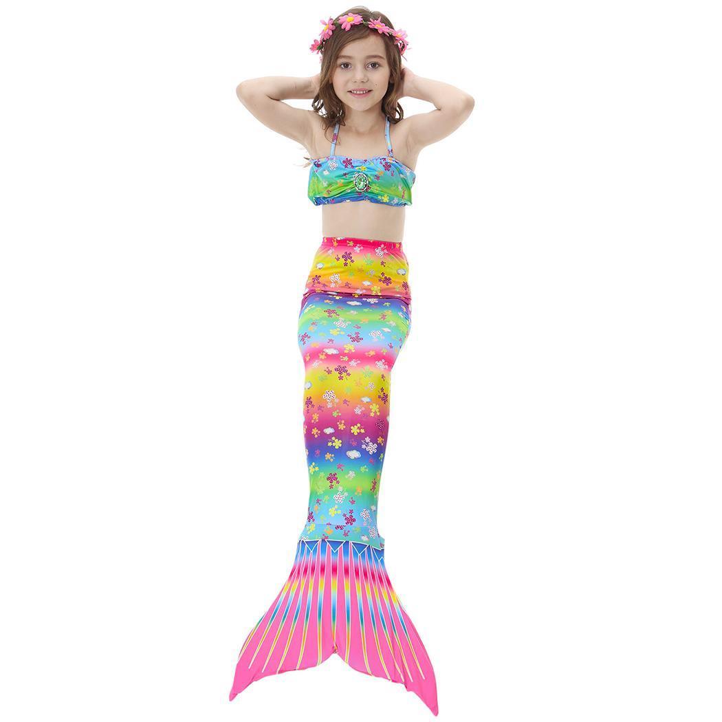 Kids Girls Halter Neck Sleeveless Mermaid Summer Tail Children Cosplay Patchwork Swimsuit Set Cosplay, Beach