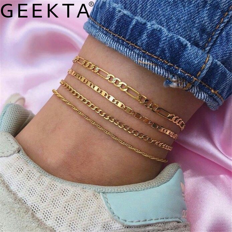4PCs Punk Figaro Chian Anklets For Women 2020 Simple Gold Silver Color Geometric Chain Ankle Bracelet on Leg Foot Jewelry