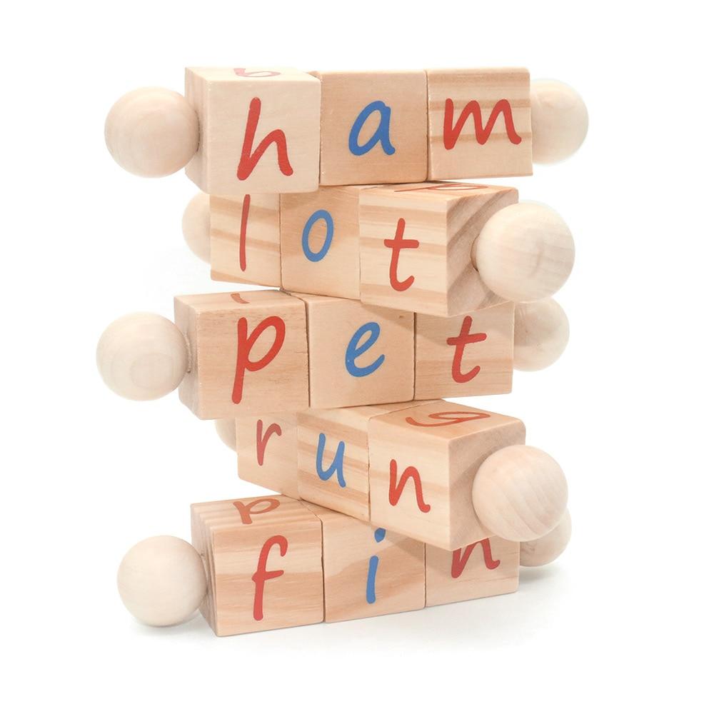 Wooden Reading Blocks Wooden Spinning Alphabet Manipulative Blocks Educational Toys For Children Letter Abc Blocks MI0764H