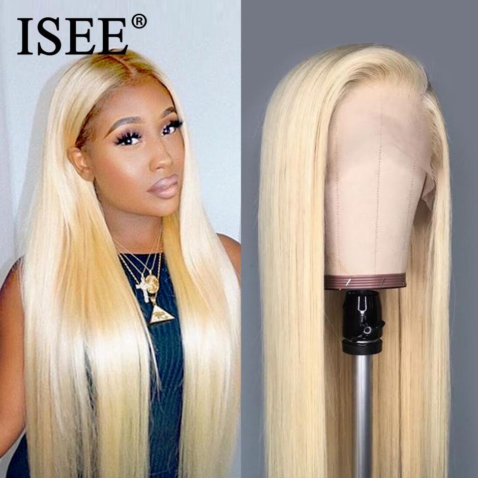 Recto 613 peluca con malla frontal 150% de densidad frente de encaje pelucas de cabello humano para las mujeres ISEE Hair peruano recta rubia peluca con malla frontal s