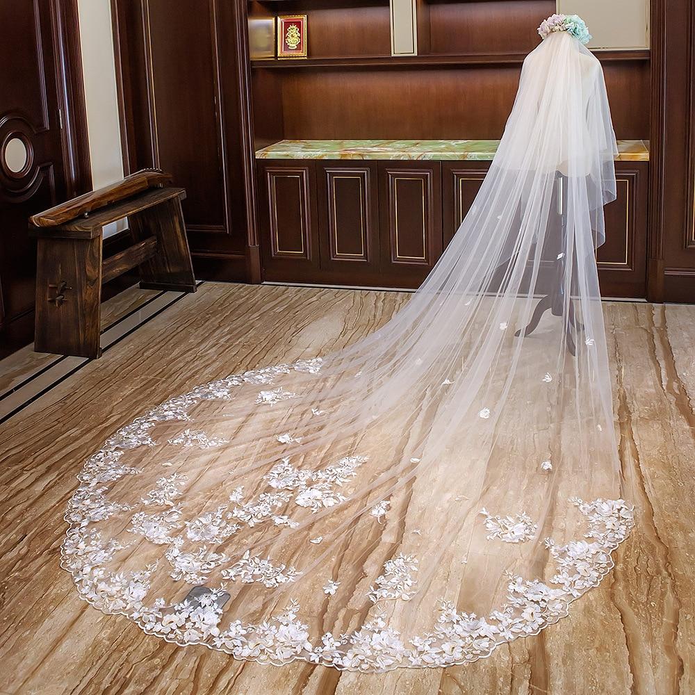 4 Meter Lange Wit Ivoor Kathedraal Wedding Veils Lace Edge Bridal Veil met Kam Bruiloft Accessoires Bruid Bruiloft Sluier - 3