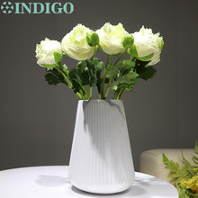 New White Onion Rose Short With Bud 7pcs/Lot Table Decoration Artificial Flower Wedding Party Event Free Shipping