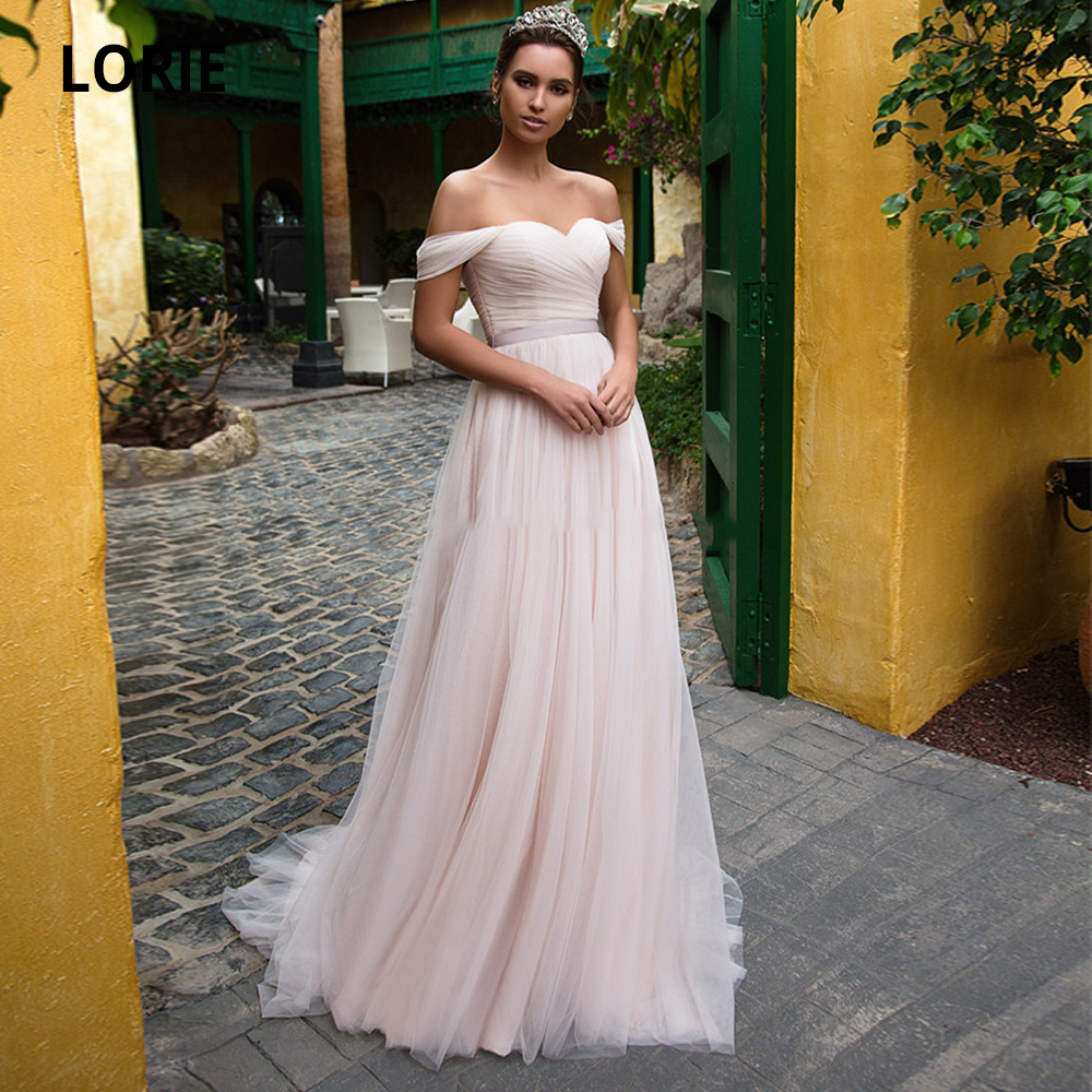 LORIE Simple Off The Shoulder Sweetheart Boho Pink Wedding Dresses Tulle With Belt Back Lace Up Beach Bridal Gowns Plus Size