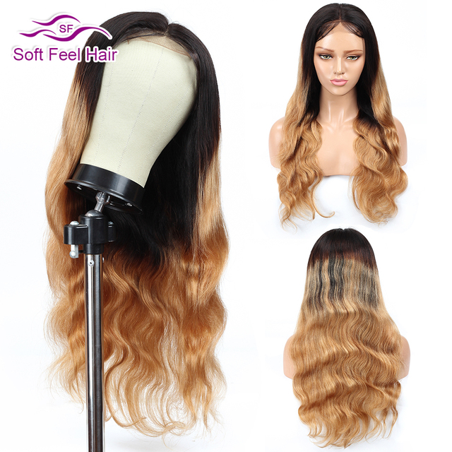 Soft Feel Hair 4×4 Lace Closure Wig Honey Blonde Ombre Human Hair Closure Wigs For Women Remy Brgundy Brazilian Body Wave Wigs