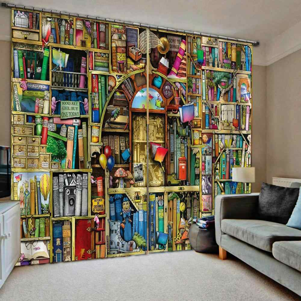 3D Curtain Luxury Blackout Window Curtain Living Room color bookself curtains Blackout curtain