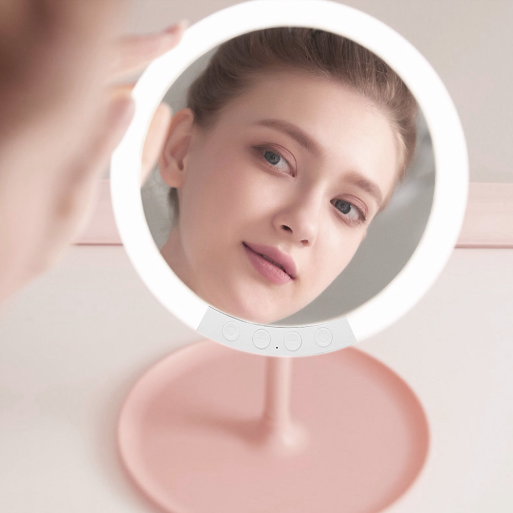 Stylish Beauty Mirror Girl Dressing Table Make Up 2000mAH USB Chargeable Seven Files 360° 66 LED Makeup Mirror