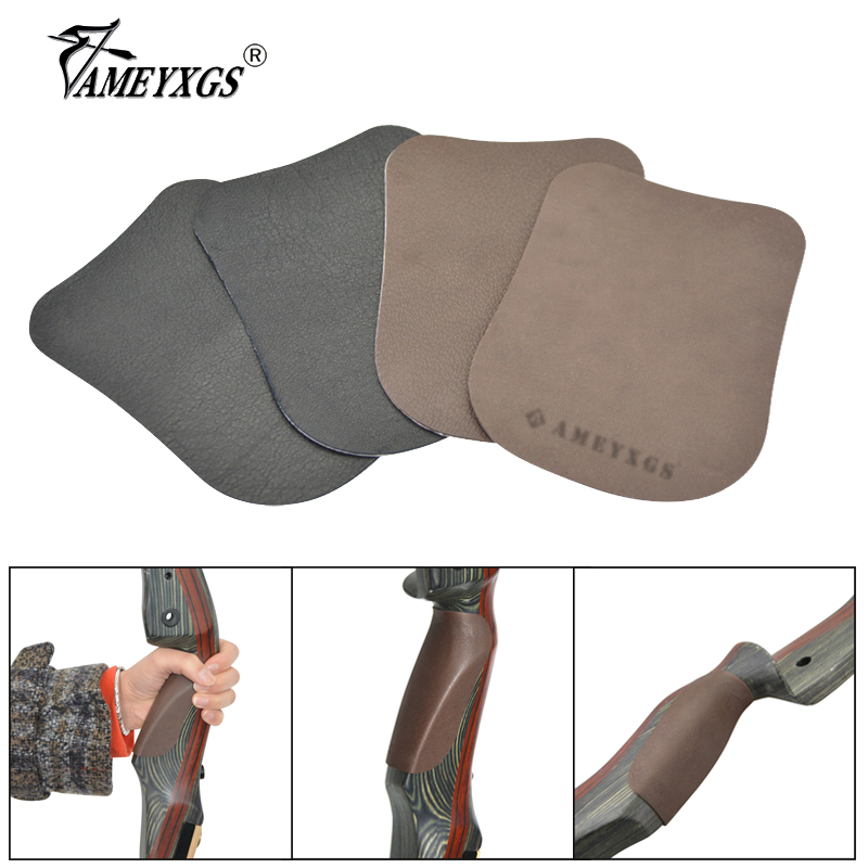 1pc Archery Bow Riser Wear-resistant Non-slip Mat 9.7x7.5cm Pasteable Leather Bow Handle Grip For Hunting Shooting Accessories