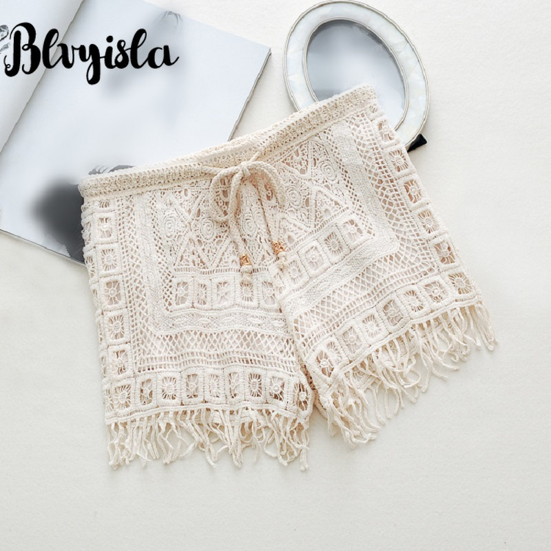 Blvyisla Summer Retro Lace Crocheted Cutout  Sexy Tassel Mini Short Beachwear Thin Cool Shorts One Size