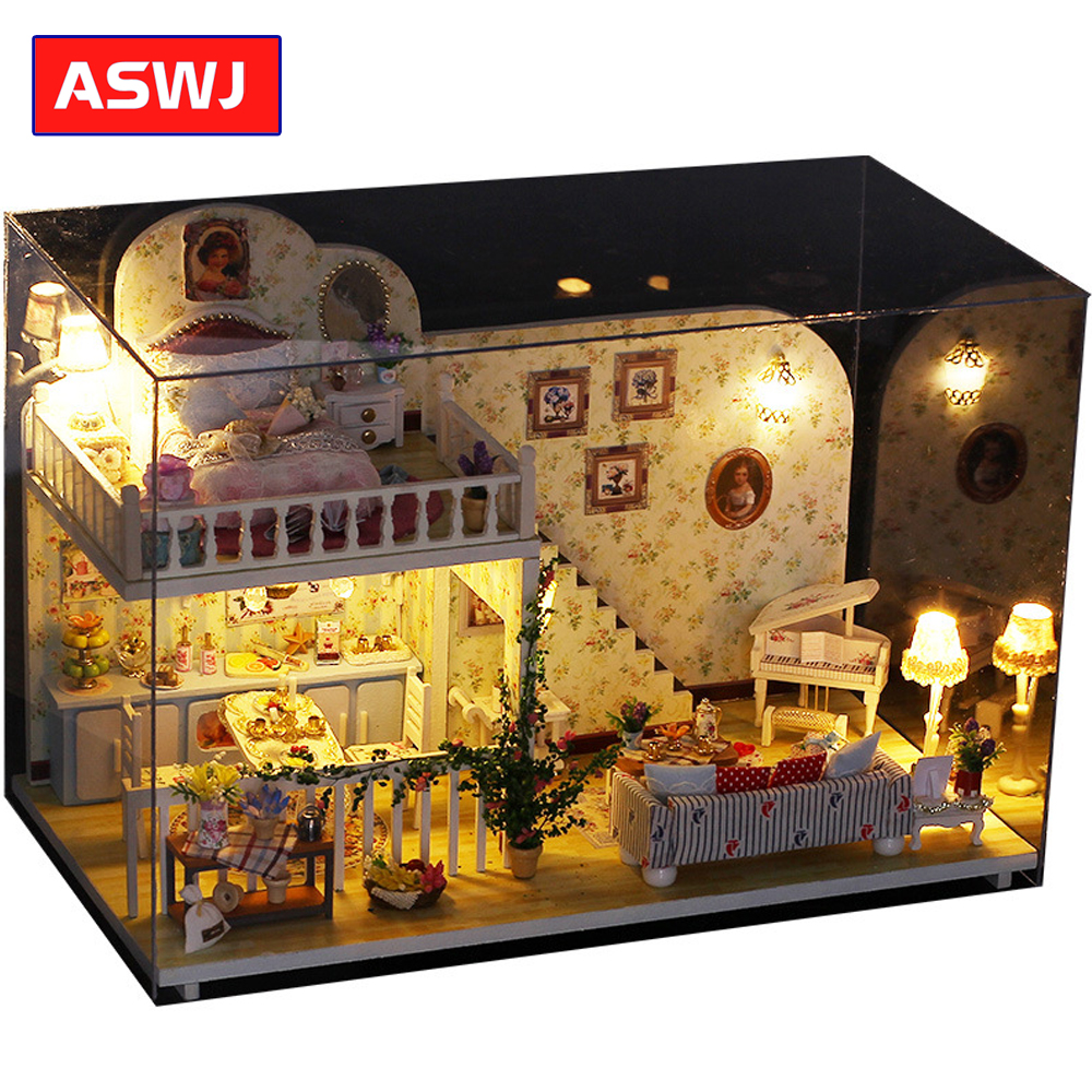 Miniature Buildings Models Christmas House DIY Dollhouse With Furnitures Wooden House Toys For Children Birthday Gift Roombox