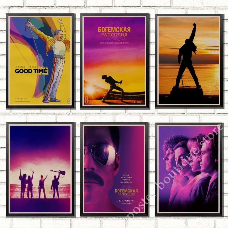 Vintage Bohemian Rhapsody Freddie Mercury Queen 2018 Music Movie Poster Kraft Paper Modern Home Wall Wall Decor image