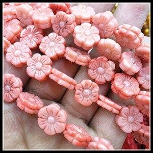 Image 3 - Бусины с натуральным коралловым цветком, 38 шт., объемные бусины розового и кораллового цвета, размеры 11 мм