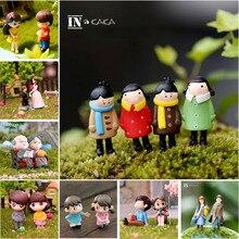 2pcs/set Mini Lovers Dolls Model Figures Micro Landscape Fairy Garden Gnomes Figurine Ornaments Decoration Miniature DIY