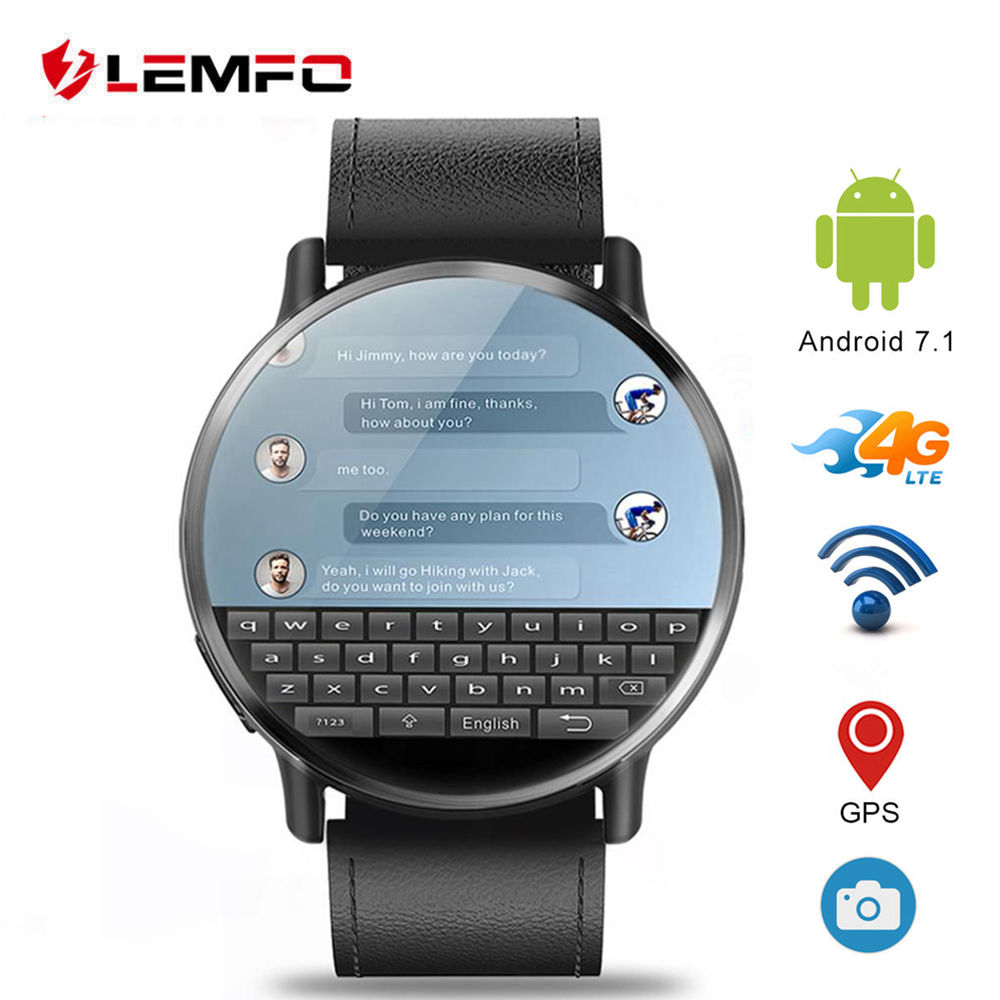 LEMFO LEM X 4G smart watch Android 7 1 With 8MP GPS Camera 2 03 Inch 900Mah Screen Battery Sport Business Strap for Men