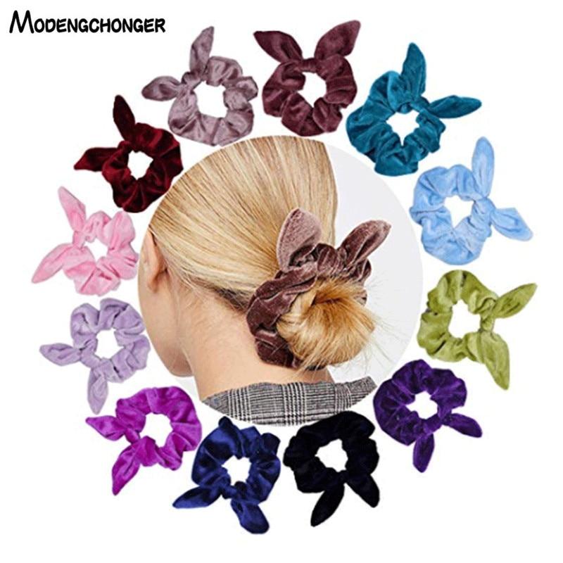 30 Colors Velvet Hair Ring Velvet Rabbit Ears Hair Rope Flower Elastic Rubber Band Ponytail Holder Scrunchies Hair Accessories