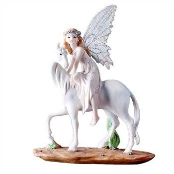 Modern Simple Horse Riding Flower Faerie Unicorn Angel Resin Art&Craft Figurines Creative Children Bedroom Decor X3619