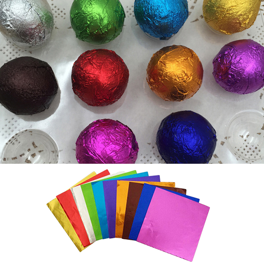 100pcs Chocolate Cute For Sweets Package 100pcs Foil Candy Paper Aluminum Wrappers 10 Colors Christmas Party Birthday Decor