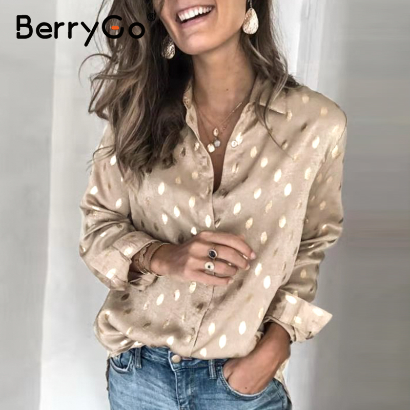BerryGo Elegant Dot Ladies Work Wear Women Shirts 2020 Spring Long Sleeve Female Tops Shirts Casual Streetwear Summer Blouse