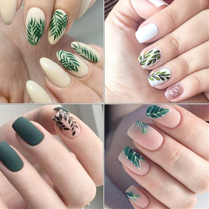 Nail Water Decal Flower Leaf Tree Green Simple Summer DIY Nail Art Nail Art Watermark Manicure Decoration