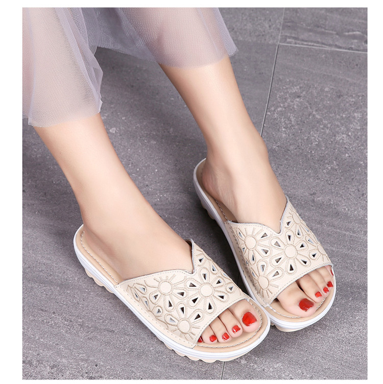 AH 1975-2020 Genuine Leather Womens Flat Slides Casual Hollows Summer Beach Flip Flops-14
