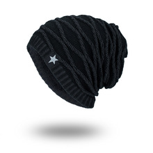 Hats Tide Knitting Wool Hat Winter Increase Down Keep Warm Black Five Stars Pullover Man Outdoors Hat Wm067 все цены